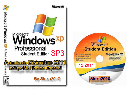 Windows XP SP3 Corporate Student Edition. Actualizado diciembre 2011 + MUI Español